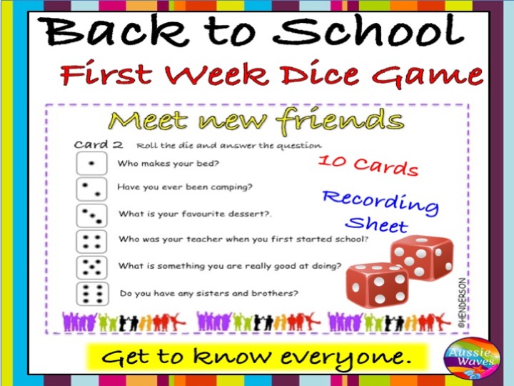 Back to School activity A Getting to Know You DICE GAME for the ...