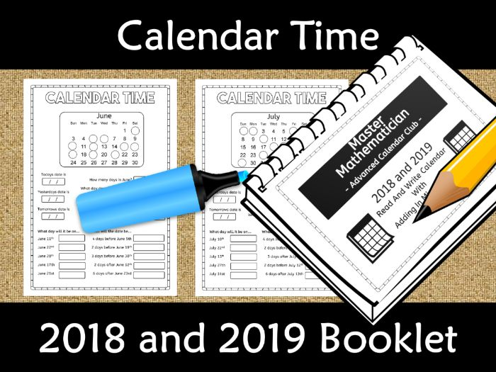 Calendar Worksheet (Fill in Missing Numbers) Booklet 2018 and 2019