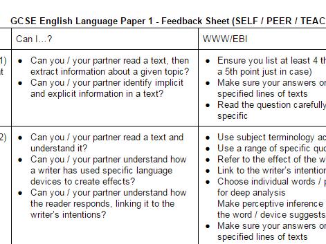 AQA English Language Paper 1 Checklist/Marking Sheet