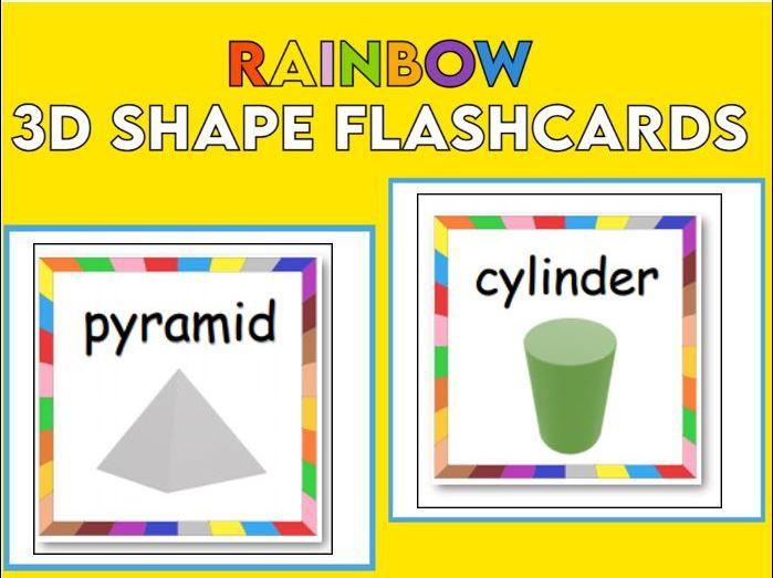 Rainbow Border 3D Shape Flashcards