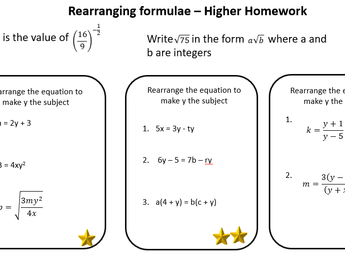 Rearranging formulae - Higher homework