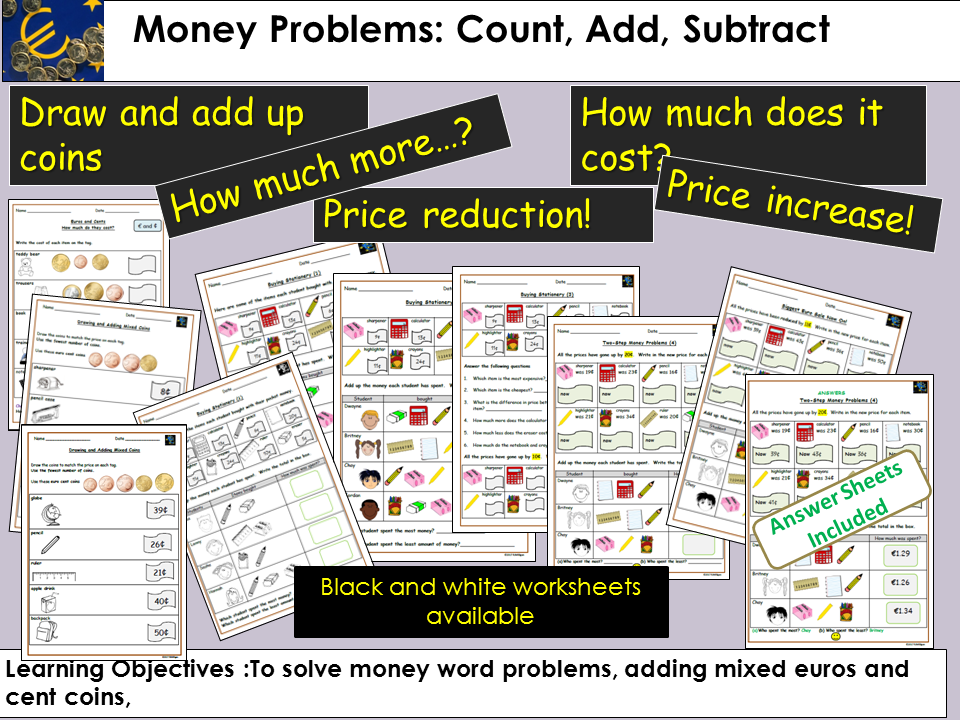 Money Problem Questions, Count, Add, Subtract, Draw coins/match price tags, Worksheets -Euros/Cents