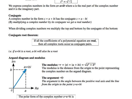 Revision notes on Complex numbers by sarahjean26 Teaching – Multiplying Complex Numbers Worksheet