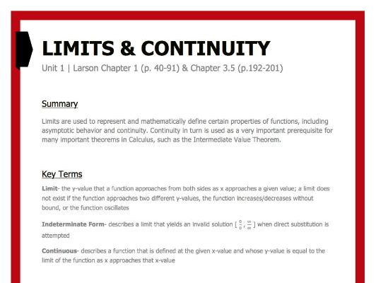 Limits and Continuity Study Guide