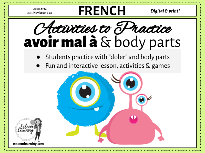 Body Parts and Pain - avoir mal à - Notes, Games & Activities for French