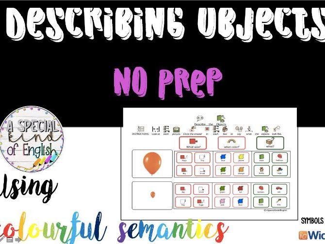No Prep - describing objects using colourful semantics