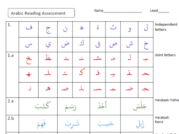 Arabic Phonics Assessment
