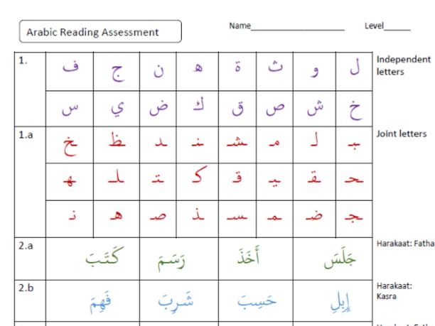 Arabic Phonics Assessment