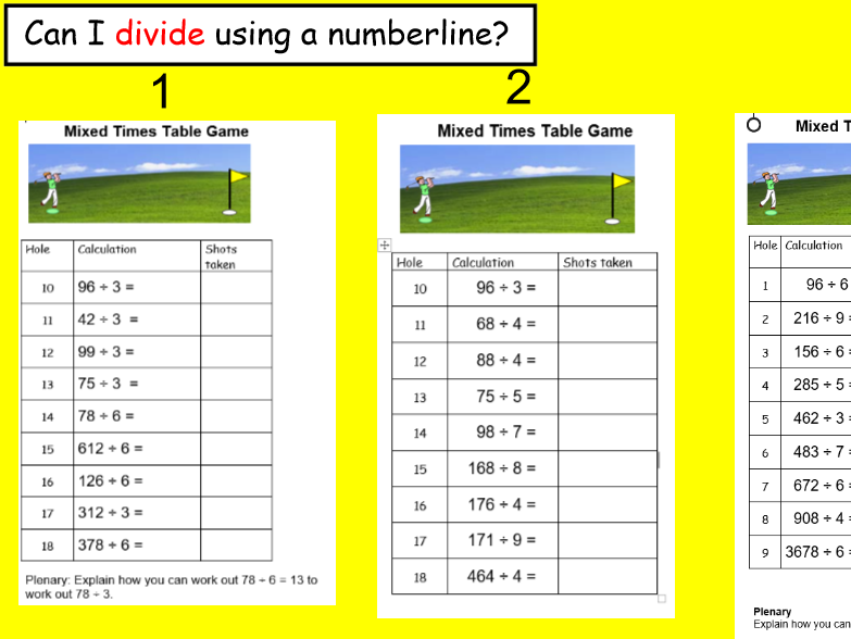 Dividing on a numberline GOLF.