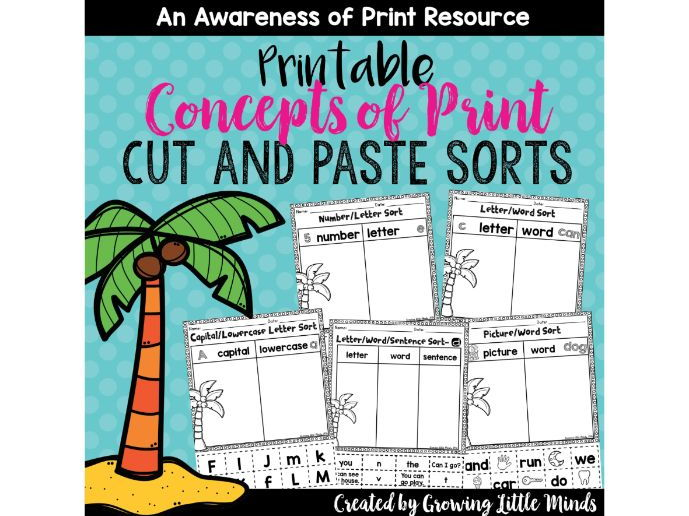 Concepts of Print  and Print Awareness Cut and Paste Sorts