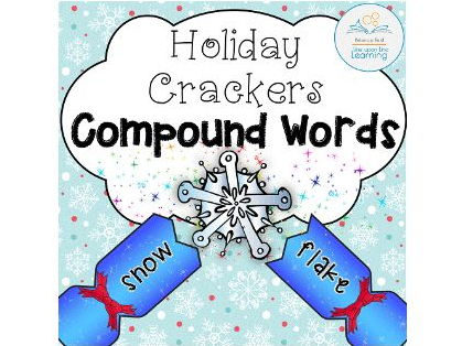 Compound Words Game and Interactive Worksheets (Holiday theme)