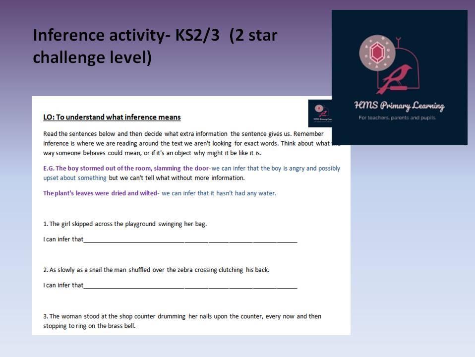 Inference sentence activity KS2/3