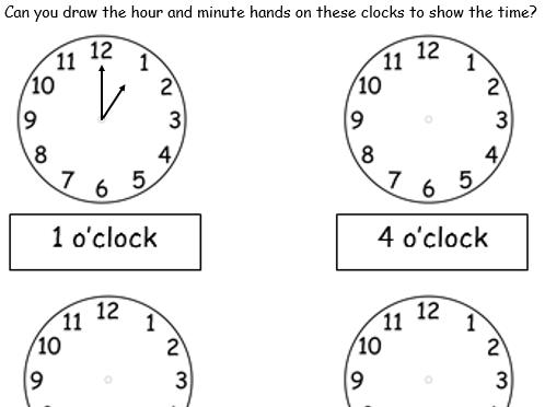 O'clock - Drawing Hands on Clocks - 2 Worksheets