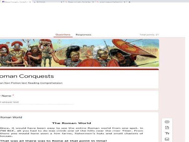 Google Classroom Forms Quiz Reading Comprehension - Roman Conquests Non-Fiction