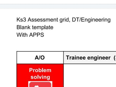 Key stage 3 assessment grid. Blank template Engineering or DT with APPS