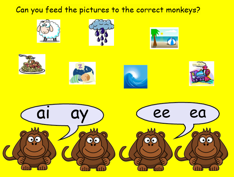Feed the Blend/consonant cluster Monkey! ay, ai, ee, ea. EYFS/KS1