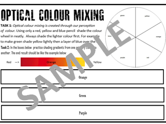 Optical colour mixing sheet - Practice with coloured pencils