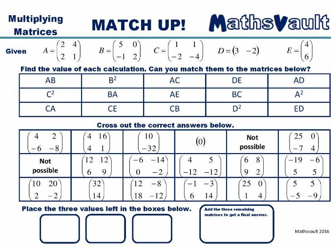 Multiplying Matrices Match Up worksheet