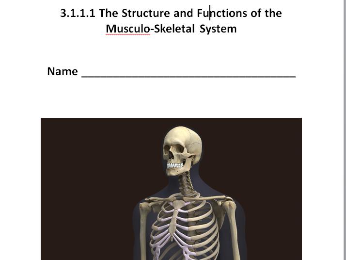 AQA New GCSE PE 9-1. Musculo-Skeletal System Unit of Work.