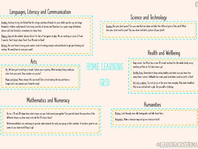 KS1 Home Learning Grid 2