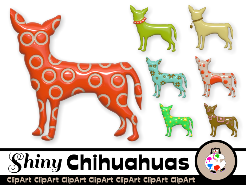 3d Shiny Chihuahua Dog Clip Art