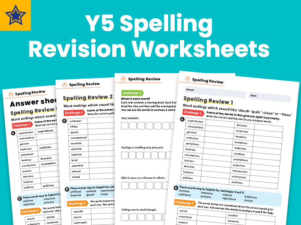 Year 5 Spelling Revision Worksheets