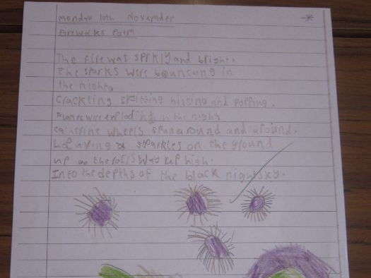 Year 1 Writing Firework poem week's plan with Notebook and worksheet