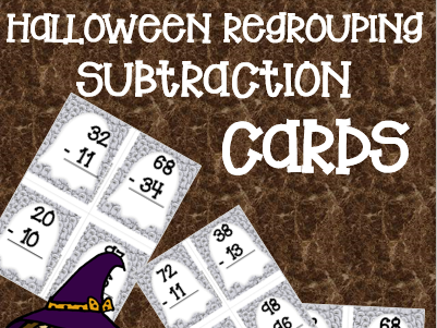 Halloween Subtraction with Regrouping Task Cards