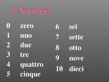 Numeri (Numbers in Italian) power point