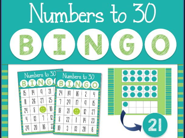 Recognizing Numbers to 30 Bingo Game for Powerpoint
