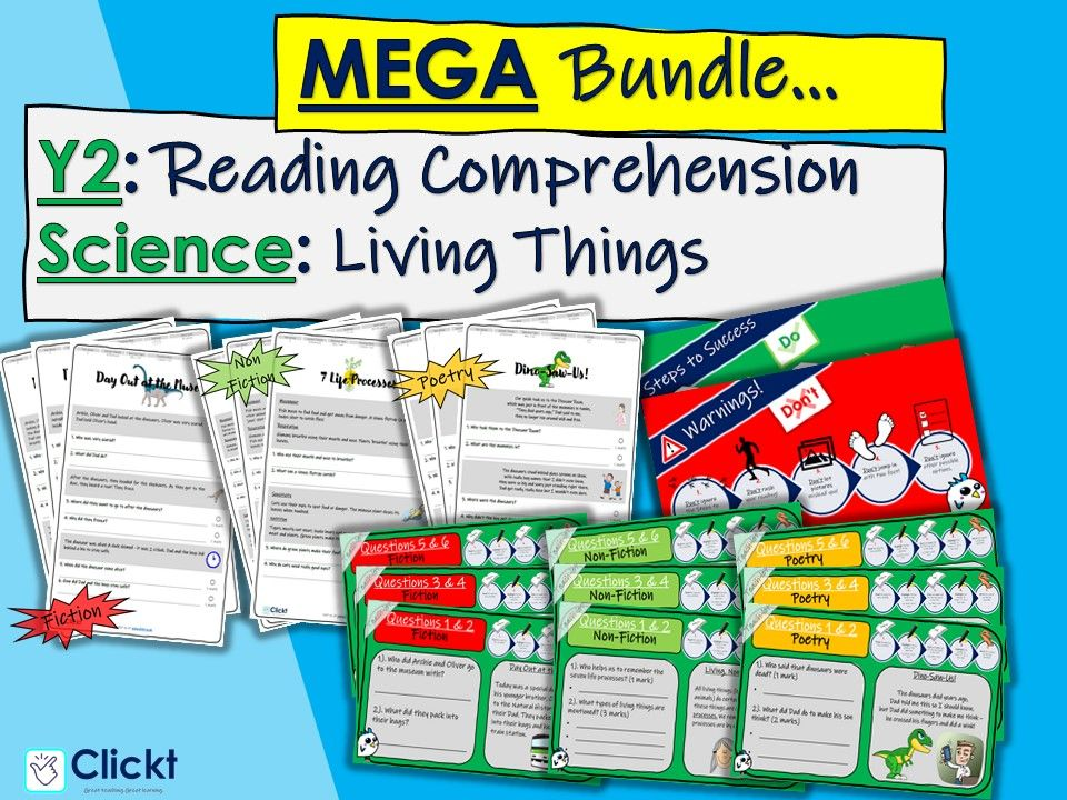 Year 2 Reading Comprehension MEGA-BUNDLE: Science: Living or Dead?