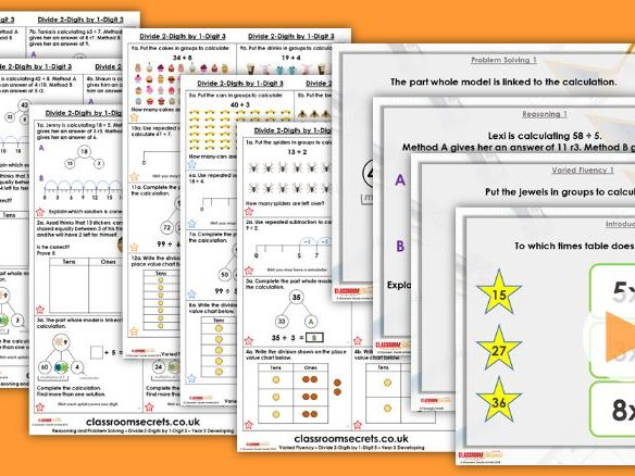 Year 3 Divide 2-Digits by 1-Digit 3 Spring Block 1 Step 7 Lesson Pack