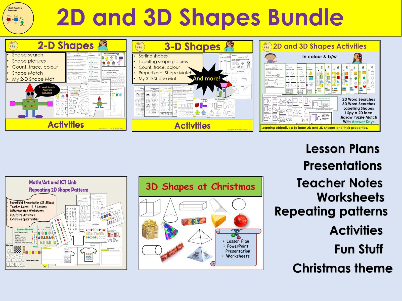 2D and 3D Shapes, Worksheets, Activities, Repeating Patterns, Presentation, Lesson Plans BUNDLE