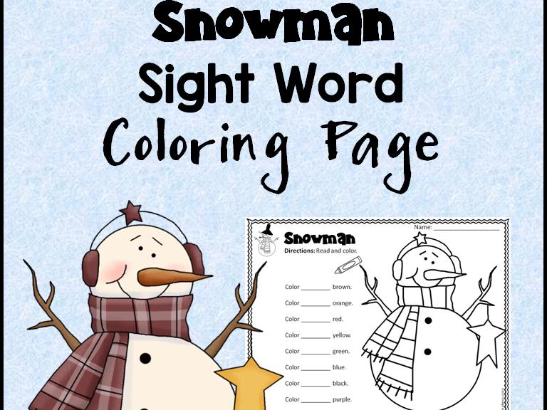 Snowman Sight Word Activity Sheet *Editable*