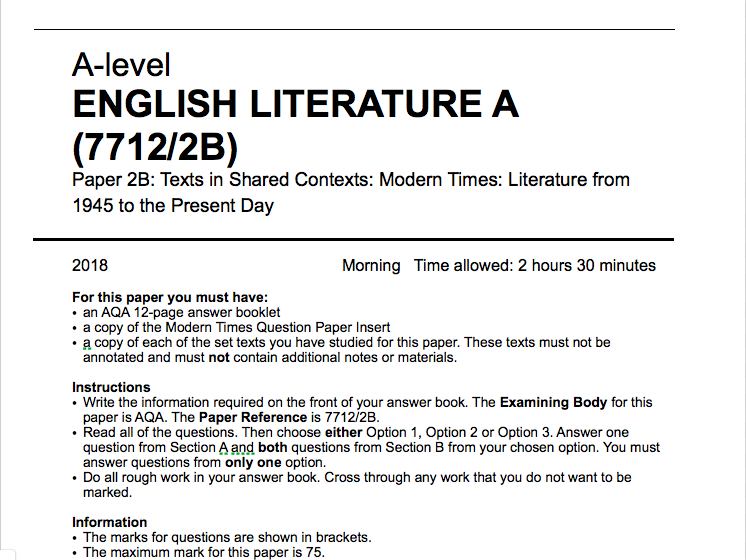 English Lit A - Paper 2B: Modern Times Literature from 1945 - mock paper and example questions