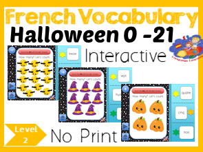 French Halloween Number Game - Counting 1 - 21 - No Print