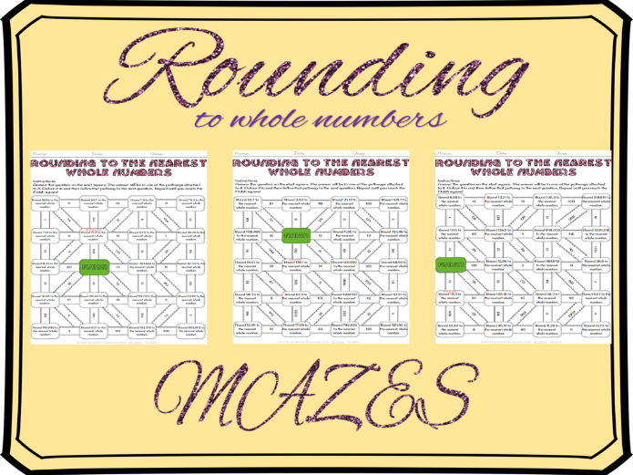 Rounding to the nearest whole number mazes