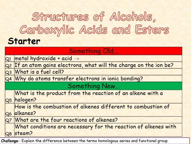 AQA Topic 10 Structures of Alcohols, Carboxylic Acids and Esters (TRIPLE)