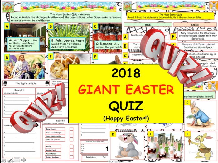 2018 - Giant Easter Quiz  (Palm Sunday, Bunnies and Chocolate) - 7 rounds and 40+Qs' .Spring Quiz.