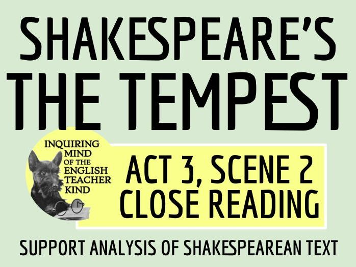 Shakespeare's The Tempest Close Reading Quiz for Act 3 Scene 2