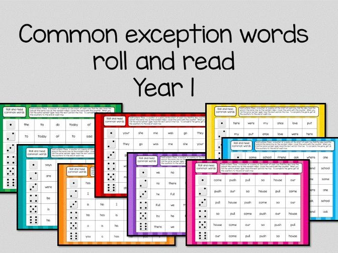 Common Exception words read and roll game year 1
