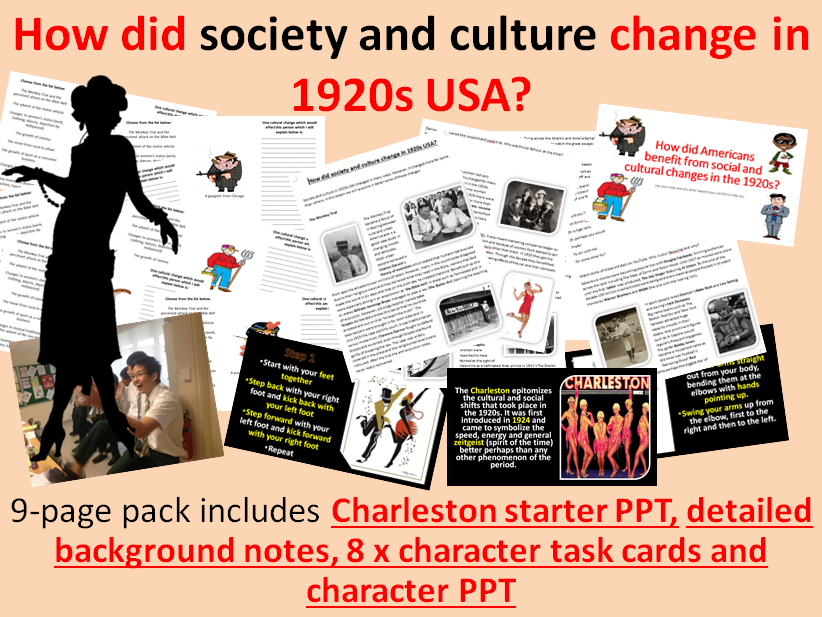 Social & cultural changes in 1920s USA - 9-page full lesson (starter PPT, notes, character cards)