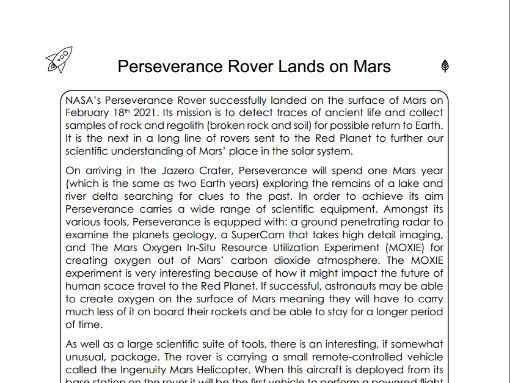 Reading Comprehension - Perseverance Rover