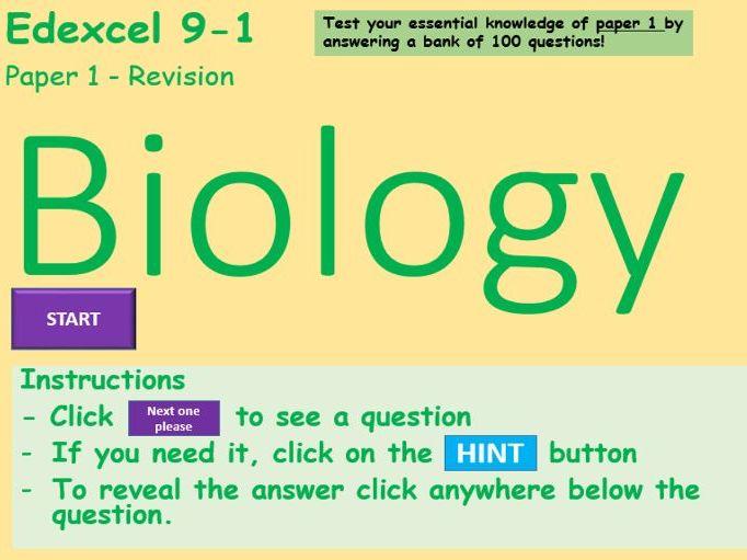 Edexcel 9-1 Biology Paper 1 - Random Question Generator