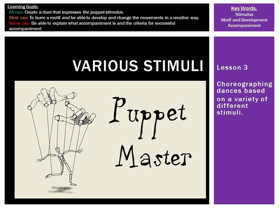 Dance Choreography: Various Stimuli L3