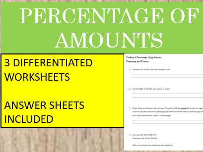 Percentage of Amounts- Differentiated Worksheets