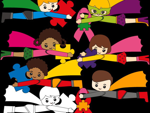 Autism Superhero clip art - Flying kids with puzzle