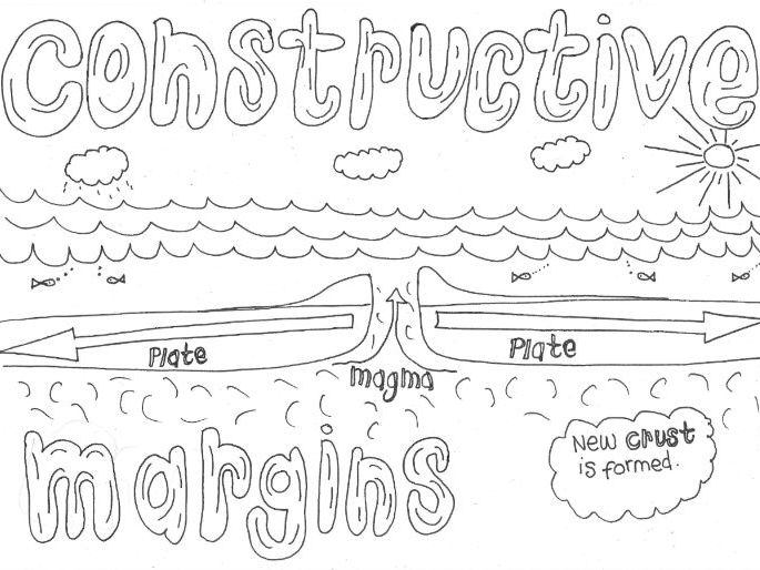 Constructive Margin Colouring Page (Geography Revision: Tectonics)