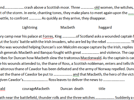 Macbeth Act  One Summary