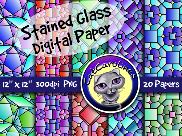 Stained Glass Digital Paper Backgrounds